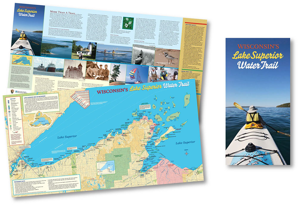 Map hero map illustration design wisconsins lake superior water trail map by map hero inc sciox Images